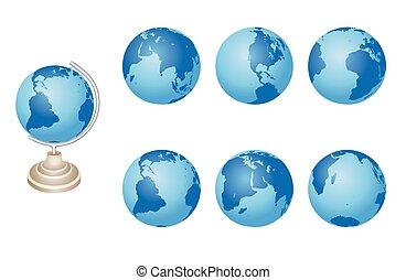 bleu, ensemble, -, vecteur, globes, la terre