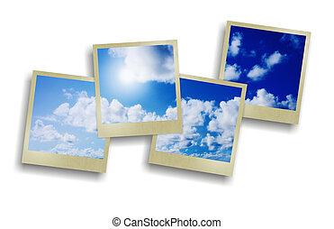 bleu, ensoleillé, ciel, à, nuages