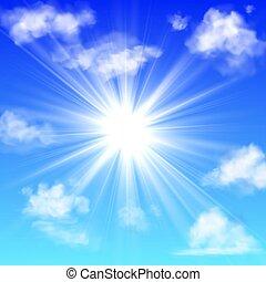 bleu, ensoleillé, pelucheux, ciel, isolé, clouds., réaliste, vecteur, brouillard, soleil, blanc, bannière, couvrir, nuage, rayon