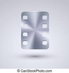 bleu, entiers, eps10, métal, arrière-plan., vecteur, icône