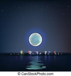 bleu, entiers, sur, lune, eau, nuit, froid