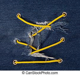 bleu, entrecroisement, laçage, trou, jean