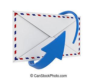 bleu, envoyer enveloppe, flèche, circulaire