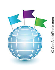 bleu, epingles, globe, drapeau