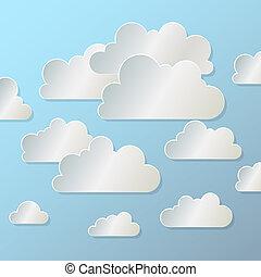 bleu, eps10, papier, fond, nuage blanc