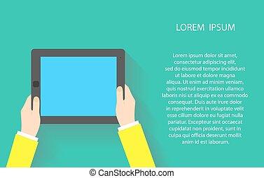 bleu, eps10, tablette, écran, screen., illustration, pc, vecteur, tenant mains, toucher, blanc