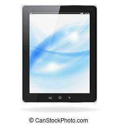 bleu, eps10, tablette, réaliste, écran, isolé, illustration, pc, vecteur, arrière-plan., vagues, blanc, informatique
