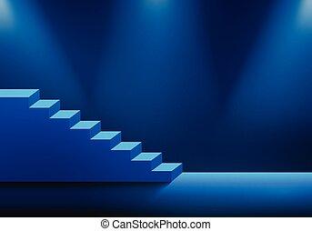 bleu, escalier, fond, lumière, sombre