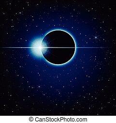 bleu, espace, éclipse, profond, vecteur, lunaire, fond