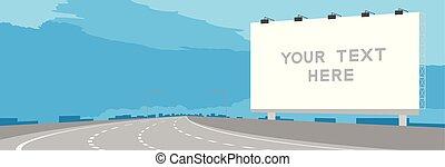 bleu, espace, grand ciel, isolé, journée, autoroute, fond, illustration, annonce, signage, panneau affichage, copie, ou, autoroute, coude