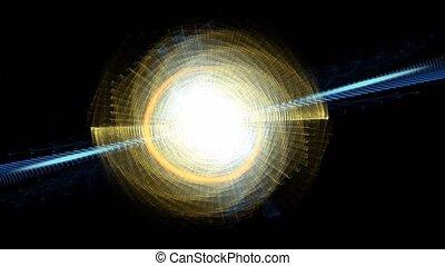 bleu, espace, lumière, résumé, diagonal, long, énergie, animation, noir, rayons, fond, représentation, imaginaire, disque, rayons, blanc
