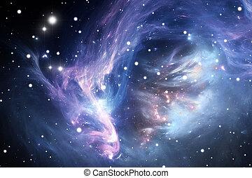 bleu, espace, nébuleuse