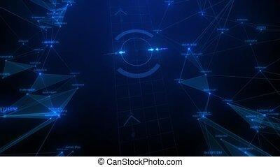 bleu, espace, résumé, dots., lignes, géométrique, en mouvement, fond