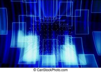 bleu, esquissé, rectangles