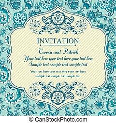 bleu, est, invitation, style, turc