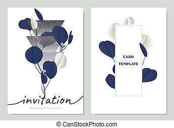 bleu, eucalyptus, triangle, feuilles, dollar, conception, formes, gabarit, invitation, blanc, argent, carte