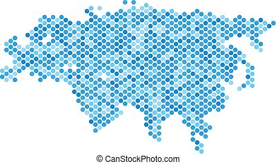 bleu, eurasie, pointillé, carte