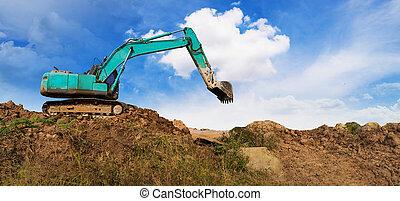 bleu, excavateur, fonctionnement, panorama, ciel, site, construction, sous