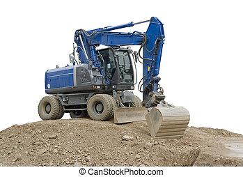 bleu, excavateur, tas, la terre