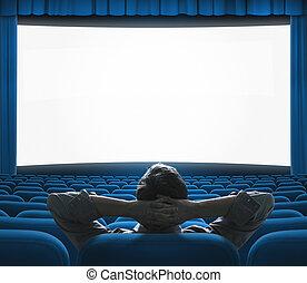 bleu, exclusif, art, cinéma, grand, concept., screen., vip, maison, film, auditorium., avant-première