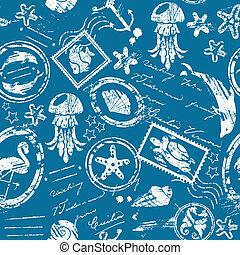 bleu, exotique, éléments, silhouette, mer, modèle, -, seamless, collection, tampons, fond, blanc