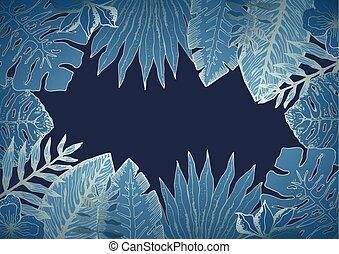 bleu, exotique, feuilles, horizontal, fond