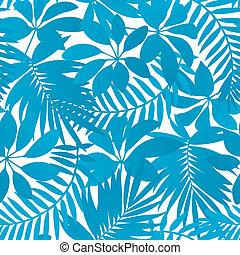 bleu, exotique, feuilles, seamless, modèle