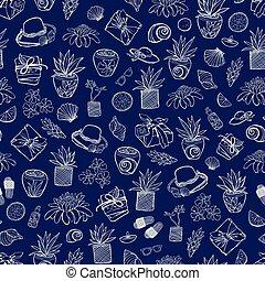 bleu, exotique, wallpaper., reprise, indigo, cadeau, elements., modèle, textile, recours, vecteur, beaucoup, spa, suitable, plage, emballer