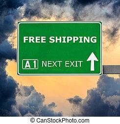 bleu, expédition, ciel clair, contre, signe, gratuite, route