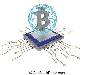 bleu, exploitation minière, render, sphere., bitcoin, unité centrale traitement, 3d