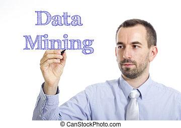bleu, exploitation minière, texte, -, jeune, surface, écriture, homme affaires, données, transparent