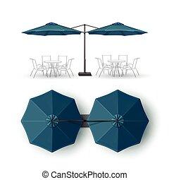 bleu, extérieur, barre, double, pub, parasol, rond