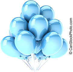 bleu, fête, anniversaire, ballons, cyan