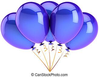 bleu, fête, ballons, coloré