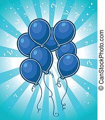 bleu, fête, ballons