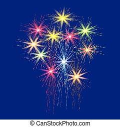 bleu, fête, illustration., feux artifice, grand, fond, multi-coloré