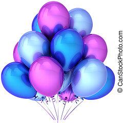 bleu, fête, pourpre, ballons, coloré