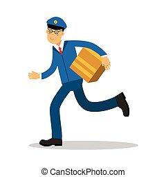 bleu, facteur, caractère, exprès, illustration, uniforme, livraison, courant, vecteur, courrier, livrer, dessin animé, paquet