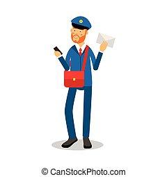 bleu, facteur, caractère, exprès, illustration, uniforme, livraison, vecteur, lettre, courrier, livrer, dessin animé, rouges, barbe