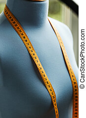 bleu, factice, photo., haut, tailleur, bande, fin, mesurer