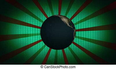 bleu, faire boucle, vert, retro, fond, la terre, animé, ...