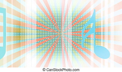bleu, faire boucle, vert, retro, fond, orange, musique