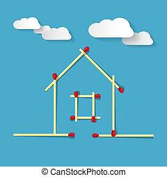 bleu, fait, allumettes, maison, symbole, fond