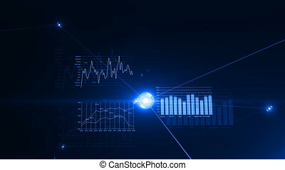 bleu, fait boucle, réseau, business, données, concept., flares., graphiques, eclats, ultra, connections., par, hd, numérique, croissant, en mouvement, 4k, technologie, animation, 3840x2160., 3d