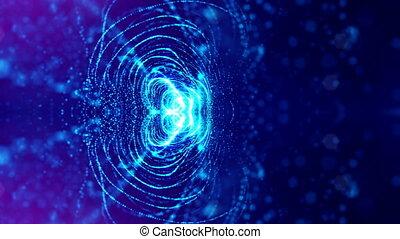 bleu, fait boucle, science, résumé, arrière-plans, profondeur, fiction, particules, arrière-plan., 3, field., 4k, lumineux, structures, circulaire