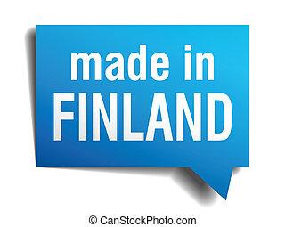 bleu, fait, finlande, isolé, réaliste, parole, fond, blanc, ...