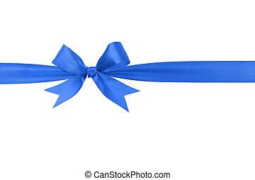bleu, fait main, arc, horizontal, frontière, ruban