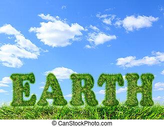 bleu, fait, mot, ciel, terre verte, herbe