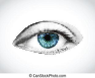 bleu, fait, oeil, dots., résumé, vecteur, femme