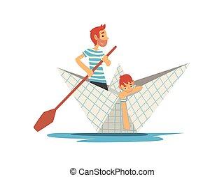 bleu, famille, père, lac, illustration, fils, rivière, canotage, vecteur, rayé, papier, t-shirts, blanc, étang, ou, bateau